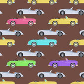 Retro luxury car seamless pattern in vector Travel wheels race shop antique vintage vehicle auto Automobile classic garage style model drawing old sign illustration