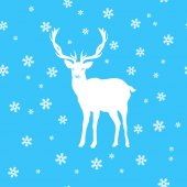 Greeting card the silhouette of a white deer amid the snow and stars seamless background of snow and stars Wishes merry Christmas vector illustration