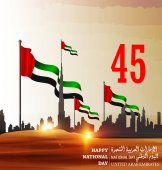 United Arab Emirates ( UAE ) National Day holiday with an inscription in Arabic translation Spirit of the union National Day celebration background  United Arab Emirates  Vector illustration