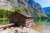 Wooden building on Obersee Lake