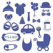 Baby boy 18 objects clip art set Set of baby shower elements isolated on white background Vector illustration
