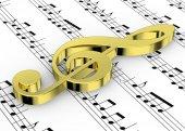 Houslový klíč a poznámku o Pentagram - 3d