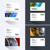Vector business card template with colourful geometric shapes for eco business tech Simple and clean design Creative corporate identity layout set with effects
