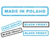 Made In Poland rubber seal stamp watermark with bonus banners for Black Friday offers Vector blue and gray signs Text inside rectangular shape with grunge design and unclean texture