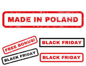 Made In Poland rubber seal stamp watermark with additional images for Black Friday sales Vector red and black stickers Tag inside rectangular banner with grunge design and dust texture