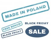 Made In Poland rubber seal stamp watermark with bonus banners for Black Friday offers Vector cyan and blue stickers Caption inside rectangular shape with grunge design and scratched texture
