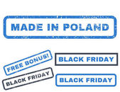 Made In Poland rubber seal stamp watermark with bonus images for Black Friday sales Vector smooth blue stickers Text inside rectangular shape with grunge design and unclean texture