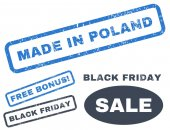 Made In Poland rubber seal stamp watermark with bonus images for Black Friday sales Vector smooth blue signs Tag inside rectangular banner with grunge design and dirty texture