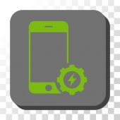 Smartphone Power Options Gear square button Vector pictogram style is a flat symbol in a rounded square button light green and gray colors