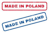 Made In Poland text rubber seal stamp watermarks Vector style is blue and red ink tag inside rounded rectangular shape Grunge design and dirty texture Blue and red emblems