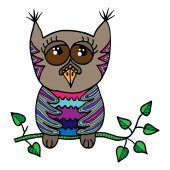 Colorful cute owl sits on a branch with leaves Picture for adult coloring book page design child magazine banner template