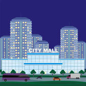 Abstract image of a modern city Night cityscape with tall buildings skyscrapers and shopping center Vector background for design presentations web sites and banners