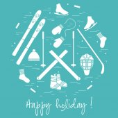 Vector illustration of different elements of sports equipment and clothing for winter sports arranged in a circl For postcard invitation banner flyer or other polygraphy and design