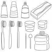 Vector set of tooth care set