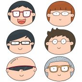Vector set of cartoon face with glasses