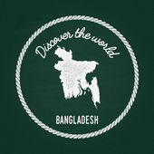 White chalk texture vintage insignia with People's Republic of Bangladesh map on a green blackboard Grunge rubber seal with country outlines vector illustration