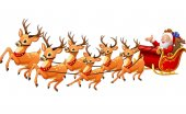 Vector illustration of Santa Claus rides reindeer sleigh on Christmas