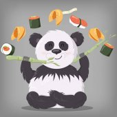 Panda vector illustration cute bear background cartoon white nature isolated animal design art bamboo mammal wild wildlife black smile fun clip cheerful character zoo asian adorable china zoology little face young happy
