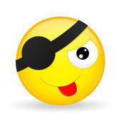 Cute pirate emoji Tease emotion Put out tongue emoticon Cartoon style Vector illustration smile icon