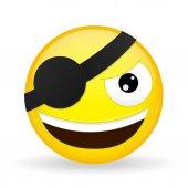 Smiling pirate emoji Happy emotion Villain emoticon Cartoon style Vector illustration smile icon