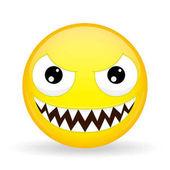 Monster emoji Emotion of laughter Nibbler emoticon Cartoon style Vector illustration smile icon