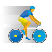 Summer sports - Road cycling Cartoon cyclist on a bike with shadows behind Flat style vector clip art isolated on white background
