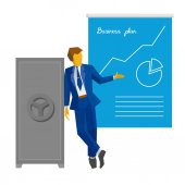 Businessman stands near the closed safe and show poster with business plan Growing chart on the poster Success concept - strategy increase sales Simple flat vector clip art on white background