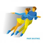 Winter sports - Pair Figure Skating Cartoon skating man and woman training Ice show Flat style vector clip art isolated on white background