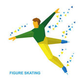 Winter sports - men's single skating Cartoon figure skater training Athlete in green and yellow skate on ice isolated on white background Flat style vector clip art