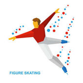 Winter sports - men's single skating Cartoon figure skater training Athlete in red and white skate on ice isolated on white background Flat style vector clip art