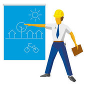 Engineer builder show blueprint with ecological project Architect with papers in hand giving presentation of residential district with small houses Flat vector clip art on white background
