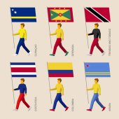 Set of simple flat people with flags of South American countries Standard bearers infographic - Curacao Grenada Trinidad and Tobago Costa Rica Colombia Aruba