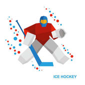 Winter sports - ice hockey Cartoon goalkeeper with hockey-stick catches the puck Player in helmet and with shields Flat style vector clip art isolated on white background