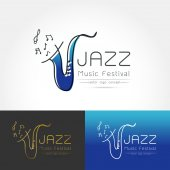 Modern linear thin flat design The stylized image of saxophone Jazz music festival logo Template for covers logo posters invitations on white background Vector illustration