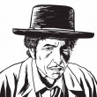 Постер, плакат: Bob Dylan Caricature Portrait Hand Drawing Vector Illustration