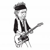 Keith Richards of The Rolling Stones Black and White Cartoon Caricature Portrait Illustration Vector Drawing