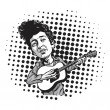 Постер, плакат: BubbleBob Dylan Cartoon Playing Guitar Black and White Cartoon in Pop Art Background Vector