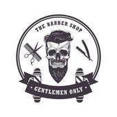 Skull Barber Shop Logo Retro VIntage Design Template Vector Illustration Clip Art
