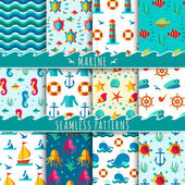 Seamless vector patterns with nautical elements wave collection paper Ocean vector blue texture wallpaper marine seamless patterns Water nautical element abstract marine seamless patterns