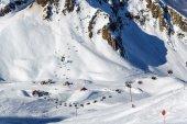 Aibga cirque ski slopes and chair lifts in Krasnaya Polyana, Sochi
