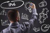 Technológia, internet, üzleti és marketing. Fiatal üzletember