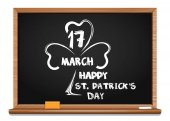 Blackboard with the image of clover, and congratulations on St. Patricks Day. March 17
