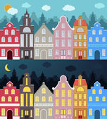Set of European style colorful cartoon buildings Day and night Isolated hand drawn houses for your design Perfect for greeting cards