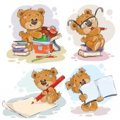Set of vector clip art illustration with a teddy bear on the topic of school and university education Funny illustrations for greeting cards and children s books