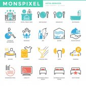 Flat thin line Icons set of Hotel Services Pixel Perfect Icons Simple mono linear pictogram pack stroke vector logo concept for web graphics