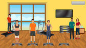 Fitness people in sports wear doing exercises in the gym with training apparatus Sport characters Helthy lifestyle concept Vector illustration