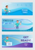 Fitness banners or flyers set with personal trainerVector illustration with cartoon character