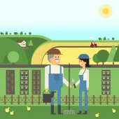 Landscape Farm two farmers care for their land planting pets Vector material design