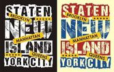 Typography Design Staten Island New York Vector (grunge effect easy removable from separate layer)