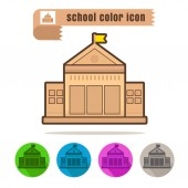 Icon school color on white background